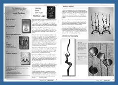 Artist-blacksmith andirons published in Hammer's Blow, Spring 2018