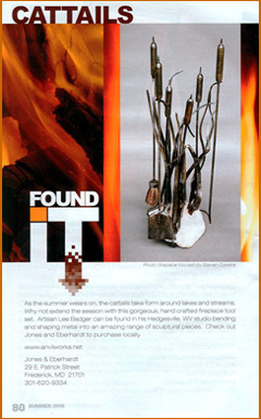 artist blacksmith cattail fireplace tools in Find It Frederick magazine.