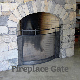 Artist-blacksmith built-in fireplace screen and gate