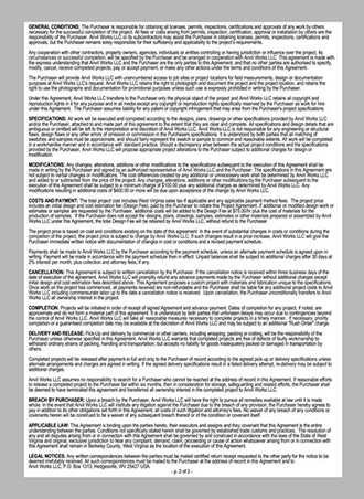 Artist blacksmith project agreement and contract for commission, page 2