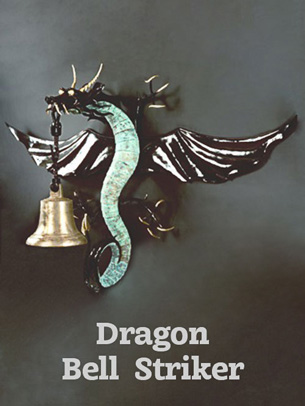 Artist-blacksmith sculpture Dragon Bell Striker by Lee Badger