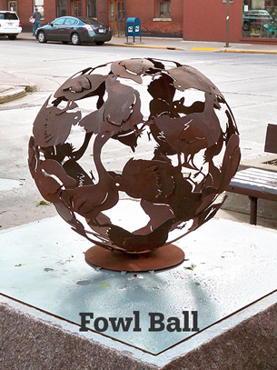 Artist-blacksmith sculpture Fowl Ball by Lee Badger