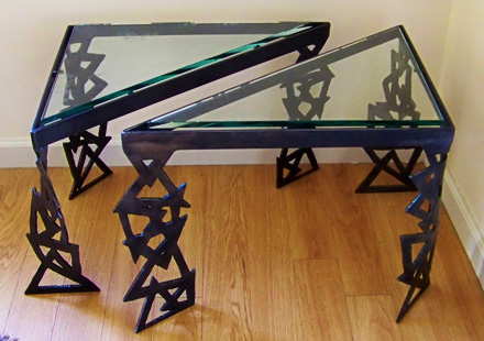 ... And Sculptural Legs To Celebrate The Differences Of Triangular Table  Design. The Torch Cut Legs Are Bent And Twisted To Show Their Angles,  Stabilize The ...