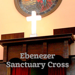 Reproduction of an altar cross in the historic Ebenezer Baptist Church Martin Luther King Jr. National Historic Site
