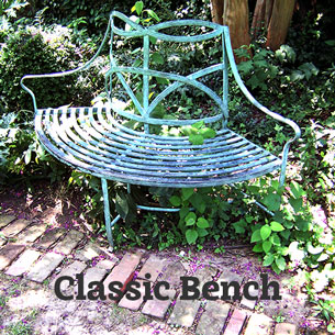A historic reproduction garden bench